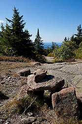 Cairn designating a hiking trail near Cadillac Mountain, Acadia National Park, Maine, United States of America