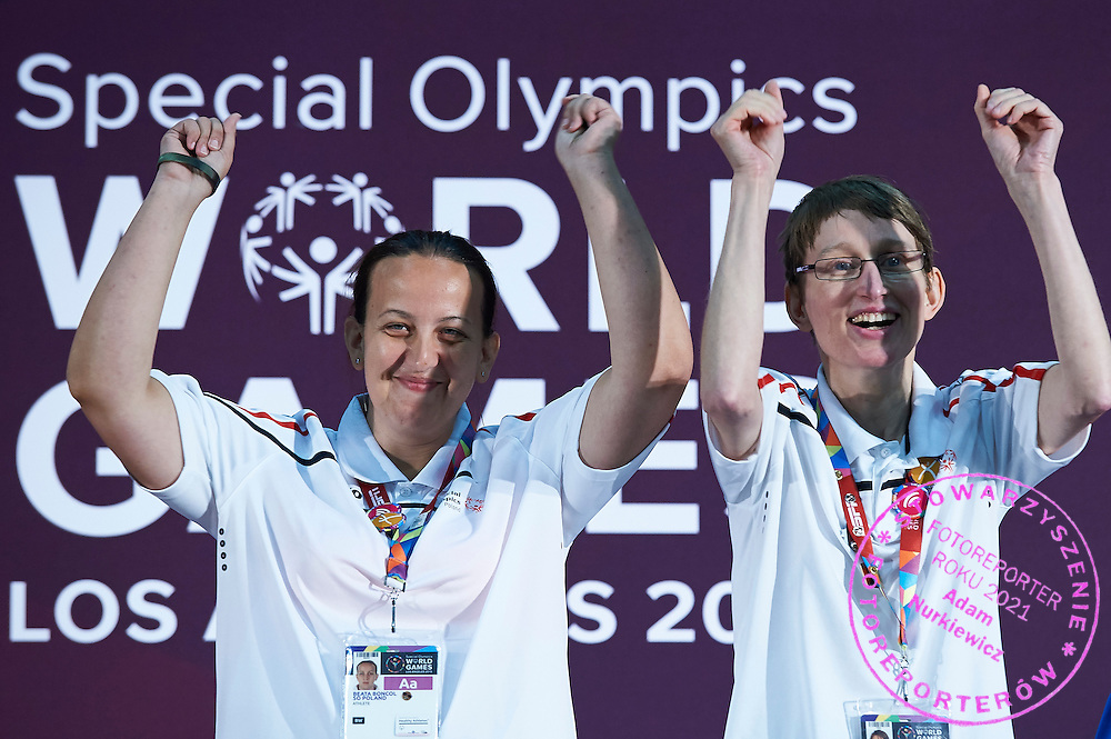 (L) SO Poland athlete Beata Boncol and (R) SO Poland athlete Teresa Cicha while medal ceremony after bowling competition during fifth day of the Special Olympics World Games Los Angeles 2015 on July 29, 2015 at Los Angeles Convention Centre in Los Angeles, USA.<br /> <br /> USA, Los Angeles, July 29, 2015<br /> <br /> Picture also available in RAW (NEF) or TIFF format on special request.<br /> <br /> For editorial use only. Any commercial or promotional use requires permission.<br /> <br /> Adam Nurkiewicz declares that he has no rights to the image of people at the photographs of his authorship.<br /> <br /> Mandatory credit:<br /> Photo by &copy; Adam Nurkiewicz / Mediasport