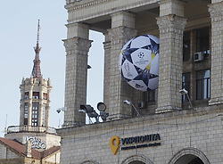 May 23, 2018 - Kiev, Ukraine - A big ball with the UEFA Champions League final logo is seen on a building in central in Kiev, Ukraine, 23 May, 2018. Kiev is preparing for the 2018 UEFA Champions League Final football match between Real Madrid and Liverpool FC next May 26 at the Olimpiyskiy Stadium. (Credit Image: © Str/NurPhoto via ZUMA Press)