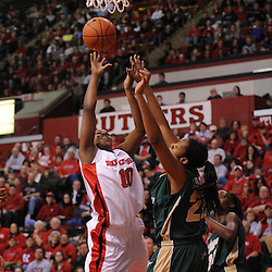 Jan 31, 2009; Piscataway, NJ, USA; Rutgers guard Epiphanny Prince (10) puts up a basket against South Florida center Jessica Lawson (23) during the first half of South Florida's 59-56 victory over Rutgers in NCAA women's college basketball at the Louis Brown Athletic Center