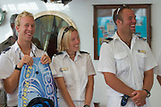 Crew Introduction aboard Star Clipper by Captain Oleg. Johan, Bonnie and Jimmy (from l.), the Swedish Sports Team.