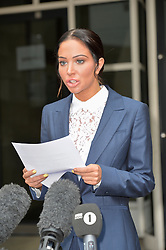 (c) Licensed to London News Pictures. 25/07/2014. London, UK. Former X Factor Judge, Tulisa Contostavlos  arrives at Straftford Magistrates Court to hear the verdict on her court case involving an assault on Savvas Morgan. She was found guilty of the assault and fined £200 , £100 compensation to the victim and to pay £2700 costs. She made a brief statement afterwards, stating that she did not assault Mr Morgan and would appeal. Photo credit Simon Ford/LNP