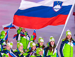 09.02.2018, Olympic Stadium, Pyeongchang, KOR, PyeongChang 2018, Eröffnungsfeier, im Bild Team Slowenien // Team Slovenia during the Opening Ceremony of the Pyeongchang 2018 Winter Olympic Games at the Olympic Stadium in Pyeongchang, South Korea on 2018/02/09. EXPA Pictures © 2018, PhotoCredit: EXPA/ Johann Groder