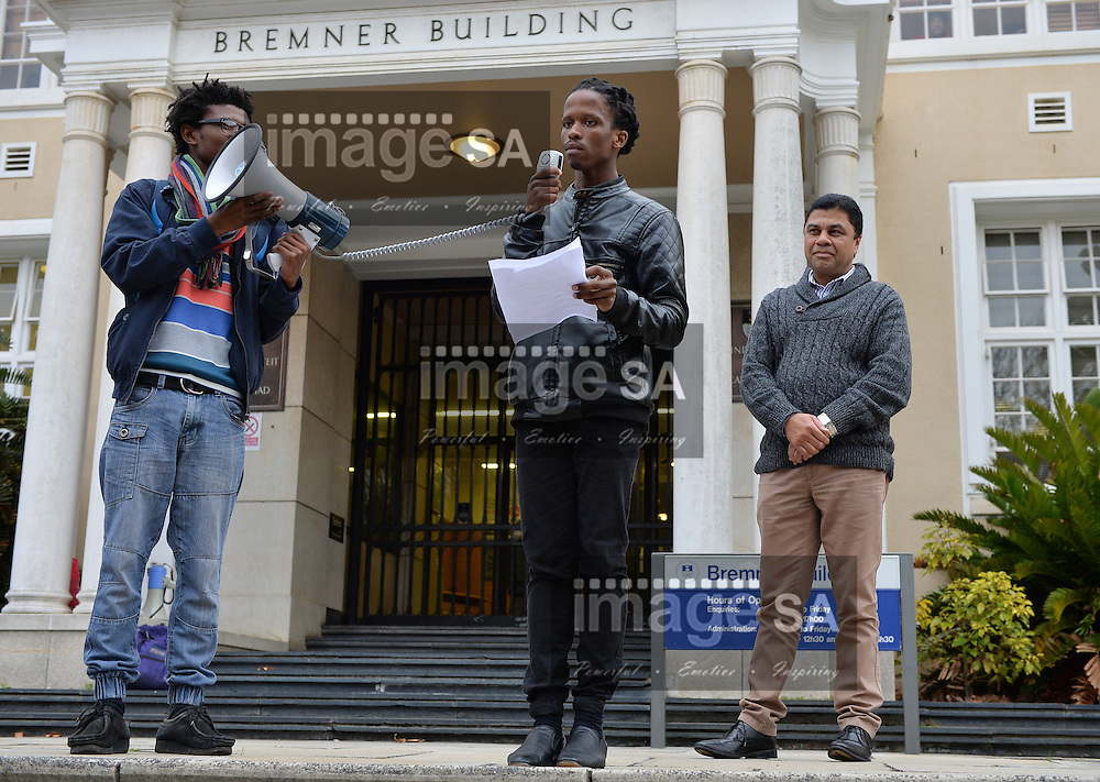 CAPE TOWN, SOUTH AFRICA - Wednesday 01 June 2016, a group of University of Cape Town students protesting outside Bremner Building, the office of the Vice Chancellor, Dr Max Price. They handed over a list of demands to Deputy Vice Chancellor, Professor Francis Petersen.<br /> Photo by Roger Sedres/ImageSA