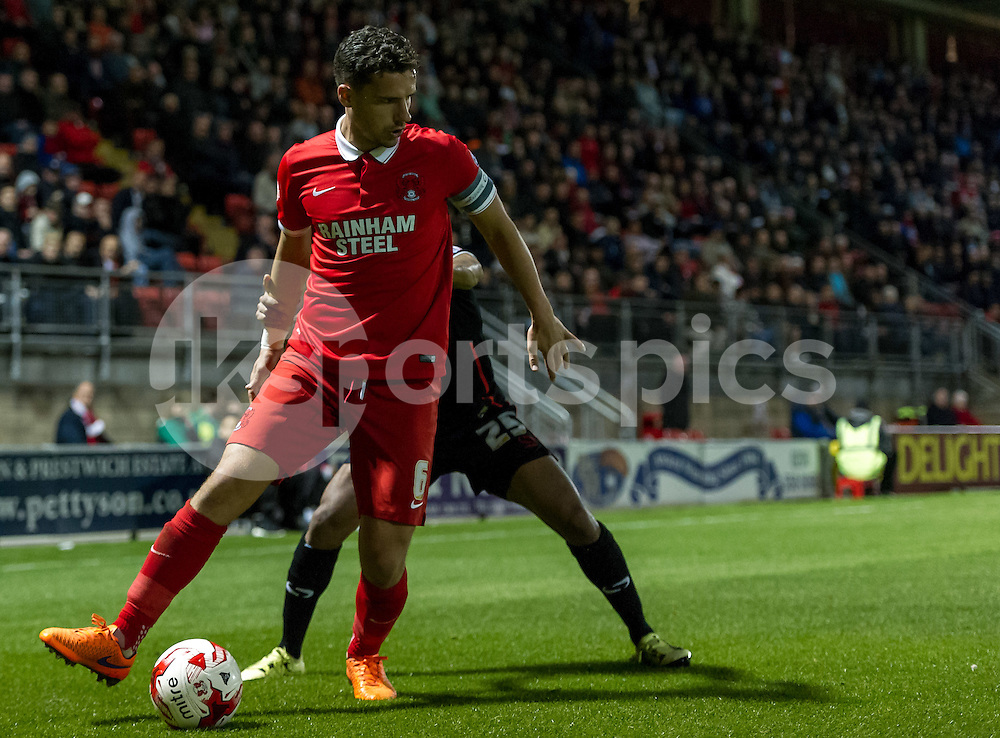 Mathieu Baudry of Leyton Orient in action during the Sky Bet League 2 match between Leyton Orient and Carlisle United at the Matchroom Stadium, London, England on 29 September 2015. Photo by Vince  Mignott.