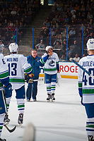PENTICTON, CANADA - SEPTEMBER 8: Jalen Chatfield #63 of Vancouver Canucks skates to the bench with the athletic therapist against the Winnipeg Jets on September 8, 2017 at the South Okanagan Event Centre in Penticton, British Columbia, Canada.  (Photo by Marissa Baecker/Shoot the Breeze)  *** Local Caption ***