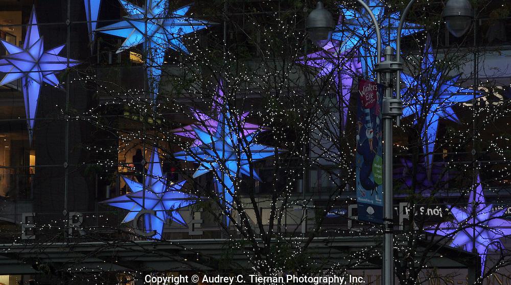 New York, NY: November 29, 2009--- Holiday decorations in Columbus Circle. © Audrey C. Tiernan