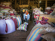 "29 JUNE 2013 - BATTAMBANG, CAMBODIA:   A worker in a rice mill brings bags of milled rice out to a waiting customer. The mill is next to the tracks that carry the ""bamboo trains."" The bamboo train, called a norry (nori) in Khmer is a 3m-long wood frame, covered lengthwise with slats made of ultra-light bamboo, that rests on two barbell-like bogies, the aft one connected by fan belts to a 6HP gasoline engine. The train runs on tracks originally laid by the French when Cambodia was a French colony. Years of war and neglect have made the tracks unsafe for regular trains.  Cambodians put 10 or 15 people on each one or up to three tonnes of rice and supplies. They cruise at about 15km/h. The Bamboo Train is very popular with tourists and now most of the trains around Battambang will only take tourists, who will pay a lot more than Cambodians can, to ride the train.       PHOTO BY JACK KURTZ"
