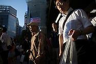 Rusningstid i stadsdelen Shibuya, Tokyo, Japan
