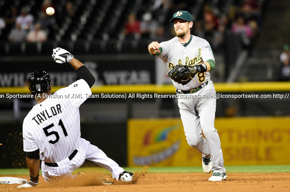 09 September 2014: Chicago White Sox right fielder Michael Taylor (51) is forced out at second base by Oakland Athletics shortstop Jed Lowrie (8) who completes a double play while playing in a MLB game between the Oakland Athletics and the Chicago White Sox at U.S. Cellular Field, Chicago, Il