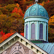 Seagull sits on top of copper covered cupola, Royal Victoria Hospital, Montreal, Quebec, Canada