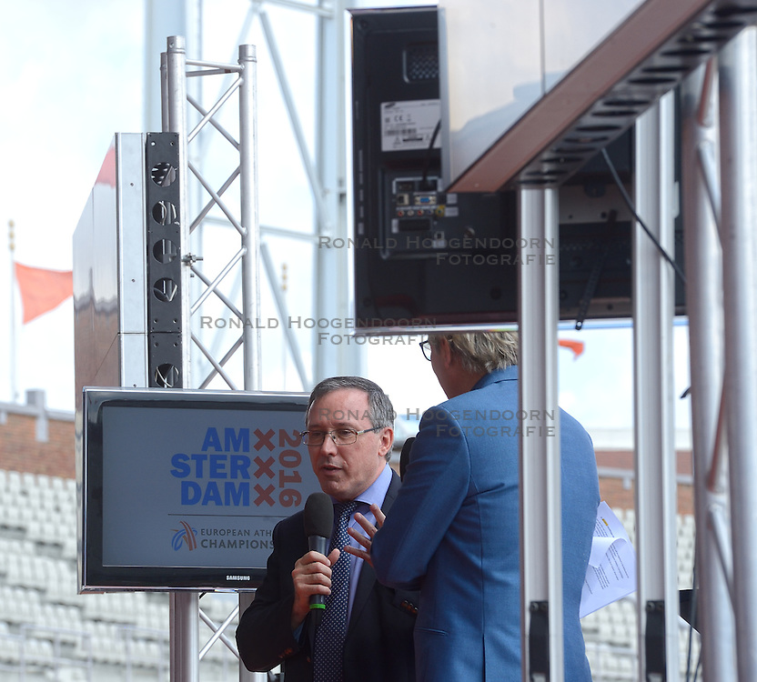 "06-07-2015 NED: Presentatie EK Atletiek ""One year to go"", Amsterdam<br /> Kick off  EK Atletiek 2016 in het Olympische stadion Amsterdam. Over 1 jaar zal het EK Atletiek plaats vinden / Jean Gracia en Tom Egberts"