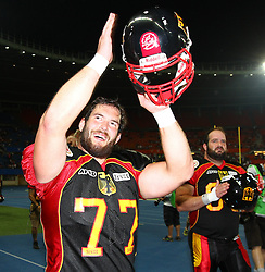 07.06.2014, Ernst Happel Stadion, Wien, AUT, American Football Europameisterschaft 2014, Finale, Oesterreich (AUT) vs Deutschland (GER), im Bild Jubel von Matthias Urmes, (Team Germany, OL, #77) // during the American Football European Championship 2014 final game between Austria and Denmark at the Ernst Happel Stadion, Vienna, Austria on 2014/06/07. EXPA Pictures © 2014, PhotoCredit: EXPA/ Thomas Haumer