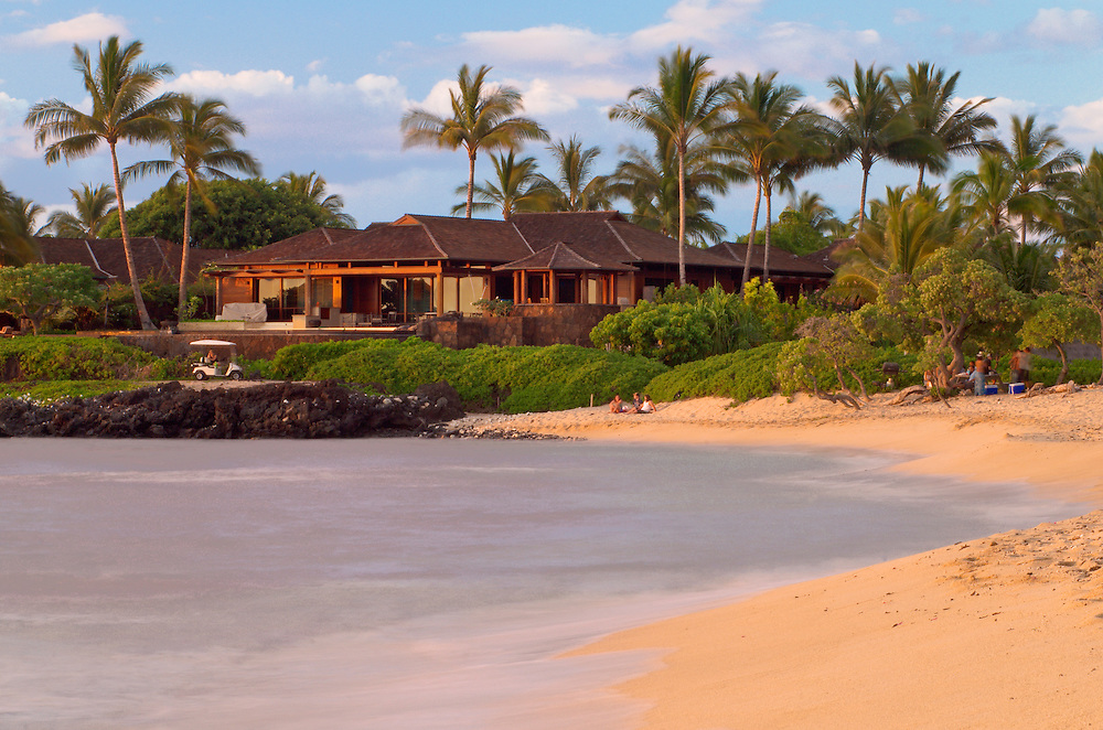 Kukio Beach and Four Seasons Hualalai Resort luxury vacation homes at sunset, Kona-Kohala Coast, Island of Hawaii.