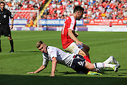 Bolton Wanderers midfielder Josh Vela (6) tackles Charlton Athletic defender Morgan Fox (21) during the EFL Sky Bet Championship match between Charlton Athletic and Bolton Wanderers at The Valley, London, England on 27 August 2016. Photo by Matthew Redman.