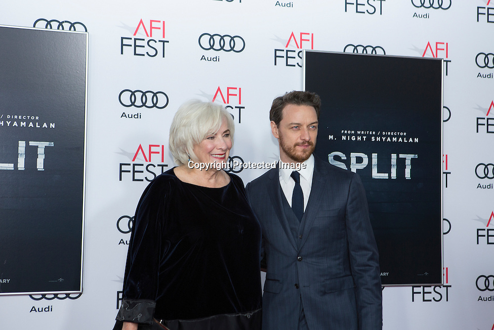 Actress Betty Buckley (L) and actor James McAvoy (R) attend Split premiere at AFI Fest 2016 presented by AUDI at TCL Chinese Theatre in Hollywood, CA on November 15th