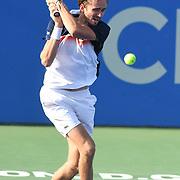 DANIIL MEDVEDEV hits a backhand at the Rock Creek Tennis Center.
