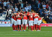 coventry team huddle during the Sky Bet League 1 match between Bury and Coventry City at Gigg Lane, Bury, England on 26 September 2015. Photo by Mark Pollitt.