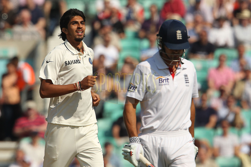 India's Ishant Sharma celebrates the wicket of England's Alastair Cook during day 2 of the fourth test match between England and India held at The Oval in Lambeth, London, England on the 19th August 2011...Photo by Ron Gaunt/SPORTZPICS/BCCI