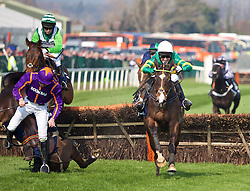 LIVERPOOL, ENGLAND - Thursday, April 9, 2015: Jezki, ridden by AP McCoy [Anthony Peter McCoy] during the fourth race, as Arctic Fire, ridden by Ruby Walsh, [L] falls at the last fence of the Doom Bar Aintree Hurdle Grand, on the Opening Day on Day One of the Aintree Grand National Festival at Aintree Racecourse. (Pic by David Rawcliffe/Propaganda)
