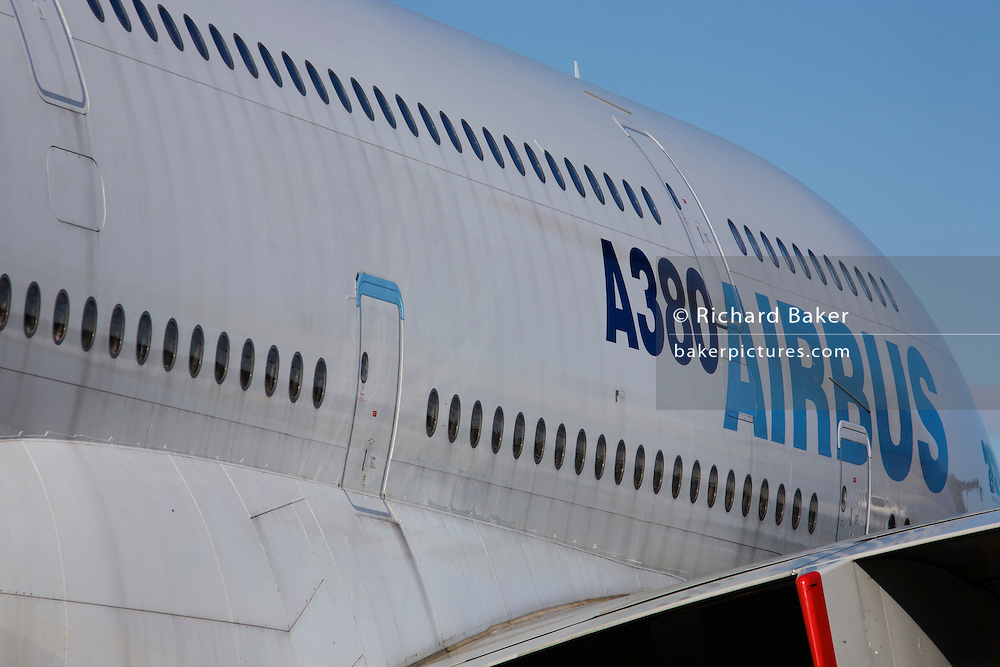 An Airbus A380 parked at Britain's Farnborough Airshow and which flies around the world on a continuous marketing tour.
