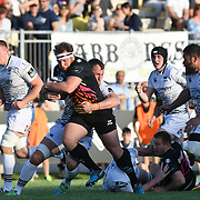Parma 21/04/2018 Stadio Lanfranchi<br /> Guinness PRO14 Zebre vs Ospreys<br /> <br /> Andrea Lovotti placcato da Lloyd Ashley