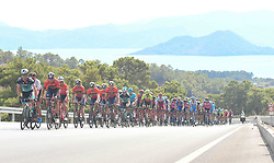 October 11, 2018 - Marmaris, Turkey - Peloton during the third stage - the Troy Stage 137.2km Fethiye - Marmaris, of the 54th Presidential Cycling Tour of Turkey 2018. .On Thursday, October 11, 2018, in Marmaris, Turkey. (Credit Image: © Artur Widak/NurPhoto via ZUMA Press)