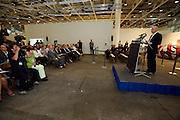 Art 38 Basel. Art Unlimited Pre-Opening. Art Basel Director Sam keller holding opening speech.
