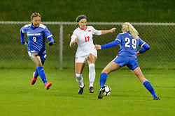 NORMAL, IL - October 17:  Jazlyn Rowan, Emily Adelman, Alise Emser during an NCAA Missouri Valley Conference (MVC)  women's soccer match between the Indiana State Sycamores and the Illinois State Redbirds October 17 2018 on Adelaide Street Field in Normal IL (Photo by Alan Look)