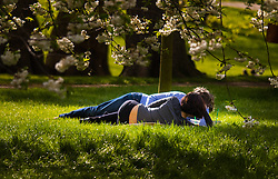 London, April 25th 2015. Despite the threat of forecasted showers, spring sunshine and warmth greets Londoners as they enjoy the Royal Parks in the capital. PICTURED: A couple relax in the warm spring sunshine in Green Park.