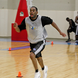 08 June 2009: Marcus Thornton of LSU runs sprints during a pre NBA draft workout for the New Orleans Hornets at the Alario Center in Westwego, Louisiana.