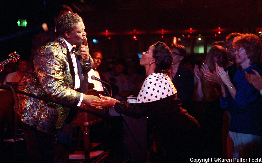 B.B. King greets a fan at his club on Beale Street in the Fall of 1991.