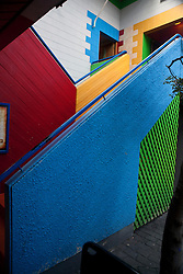 Colorful stairway leading to the entrance of Sombreros Mexican Restaurant, Queenstown, Otago District, South Island, New Zealand