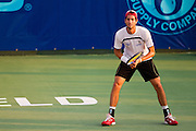 Amir Weintraub of the Springfield Lasers waits to receive a serve during a match against the Washington Kastles at Mediacom Stadium on July 11, 2012 in Springfield, Missouri. (David Welker/www.Turfimages.com).