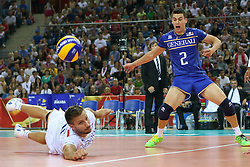 06.09.2014, Krakow Arena, Krakau, POL, FIVT WM, USA vs Frankreich, Gruppe D, im Bild Antonin Rouzier (FRA), Jenia Grebennikov (FRA) // during the FIVB Volleyball Men's World Championships Pool B Match beween USA and France at the Krakow Arena in Krakau, Poland on 2014/09/06. EXPA Pictures © 2014,<br />