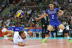 06.09.2014, Krakow Arena, Krakau, POL, FIVT WM, USA vs Frankreich, Gruppe D, im Bild Antonin Rouzier (FRA), Jenia Grebennikov (FRA) // during the FIVB Volleyball Men's World Championships Pool B Match beween USA and France at the Krakow Arena in Krakau, Poland on 2014/09/06. EXPA Pictures © 2014,<br /> <br /> <br /> ***NETHERLANDS ONLY***