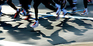 The lead pack of runners in f the 2006 New York City Marathon in first place on Sunday 05 November 2006<br />