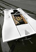 Image of a 16 cylinder Prototype motor and Porsche 917 Spyder engine at the Rennsport Reunion III at Daytona International Speedway, Daytona, Florida, American Southeast (toned black & white conversion)