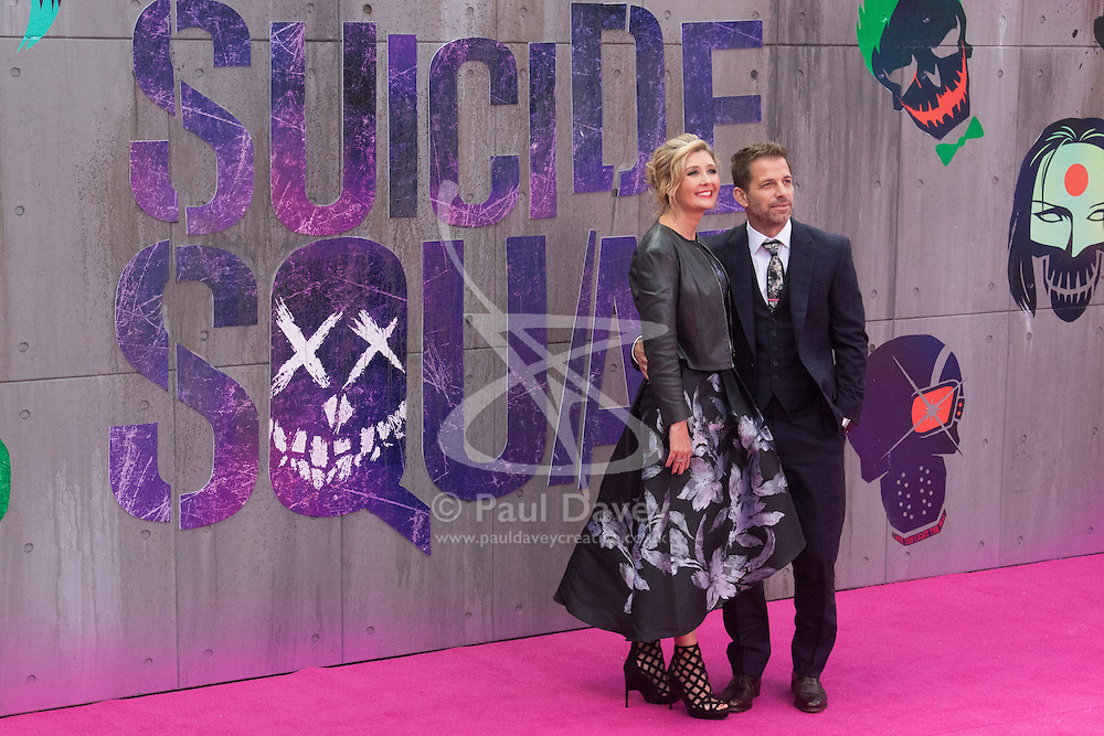 Leicester Square, London, August 3rd 2016. Hundreds of fans greet the stars of Suicide Squad at the film's European premiere in London's Leicester Square. Stars attending include: Jared Leto, Joel Kinnaman, Jai Courtney, Jay Hernandez, Adewale Akinnuoye-Agbaje, Cara Delevingne, Karen Fukuhara David Ayer (Director) Richard Suckle and Charles Roven (Producers). PICTURED: Batman vs Superman Director Zack Snyder and his wife Deborah
