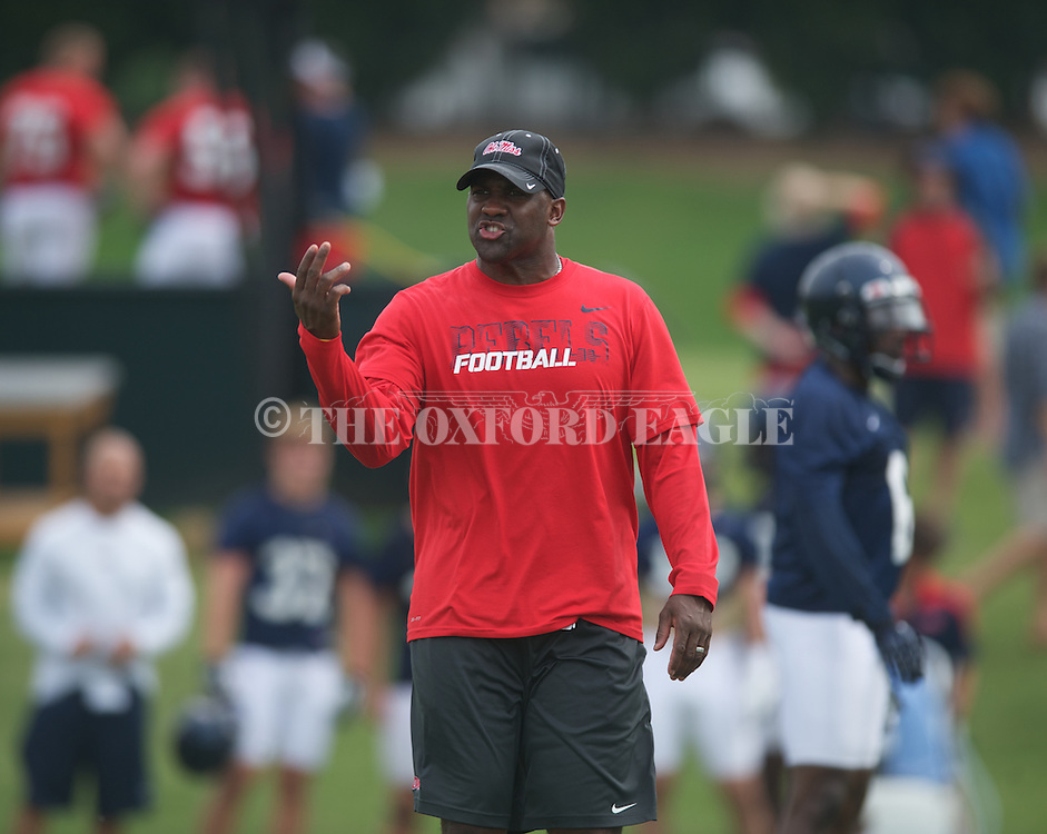 Ole Miss assistant coach Jason Jones at football practice in Oxford, Miss. on Saturday, August 3, 2013.