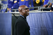 Hall of Fame running back Eric Dickerson chats with fans before an NFL football game between the Los Angeles Rams and Seattle Seahawks, Sunday, Dec. 8, 2019, in Los Angeles, Calif. The Rams defeated the Seahawks 28-12. (Peter Klein/Image of Sport)