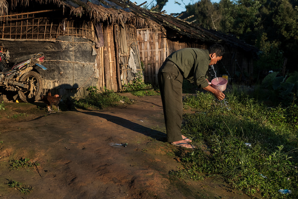 Mai Ja Yang 20160911<br /> A rebell  with the K.I.A. is brushing his teeth in the morning at an outposts near Mai Ja Yang in Kachin State, Myanmar.<br /> Photo: Vilhelm Stokstad / Kontinent