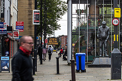 """© Licensed to London News Pictures . 16/09/2020. Bolton , UK . GV of Victoria Square in Bolton Town Centre , with a sign that urges visitors to """" Stop a Bolton Lockdown """" . The number of recorded cases of Coronavirus has gone over 200 in a single day , in Bolton . Photo credit : Joel Goodman/LNP"""