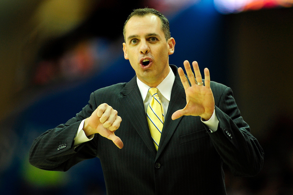 Feb. 2, 2011; Cleveland, OH, USA; Indiana Pacers head coach Frank Vogel calls a play to his players during the first quarter against the Cleveland Cavaliers at Quicken Loans Arena. Mandatory Credit: Jason Miller-US PRESSWIRE