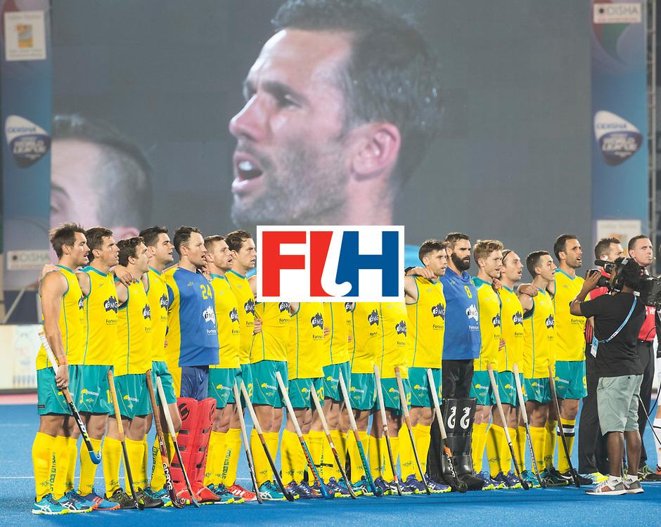 BHUBANESWAR - The Odisha Men's Hockey World League Final . Match ID 05 . Germany  v Australia . Line up Australia. WORLDSPORTPICS COPYRIGHT  KOEN SUYK