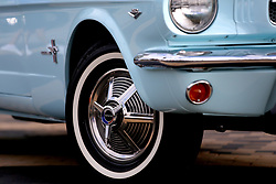 The rims on the 1964 Ford Mustang owned by Gail Wise, the first Mustang sold. It is at Ford world headquarters in Dearborn, Mich., during the event celebrating the building of 10,000,000 Mustangs, on August 8, 2018. Photo by Kimberly P. Mitchell/Detroit Free Press/TNS/ABACAPRESS.COM