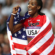 DeeDee Trotter, USA celebrates the USA Women's 4 x 400 relay team  winning the Gold Medal at the Olympic Stadium, Olympic Park, during the London 2012 Olympic games. London, UK. 11th August 2012. Photo Tim Clayton