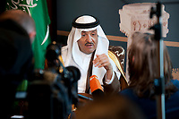 25 JAN 2012, BERLIN/GERMANY:<br /> Prinz Sultan bin Salman bin Abdul Aziz,<br /> Praesident der Saudi Commission for Tourism and Antiquities, SCTA, Saudi Arabien, waehrend einem Interview, Hotel Adlon<br /> IMAGE: 20120125-02-053