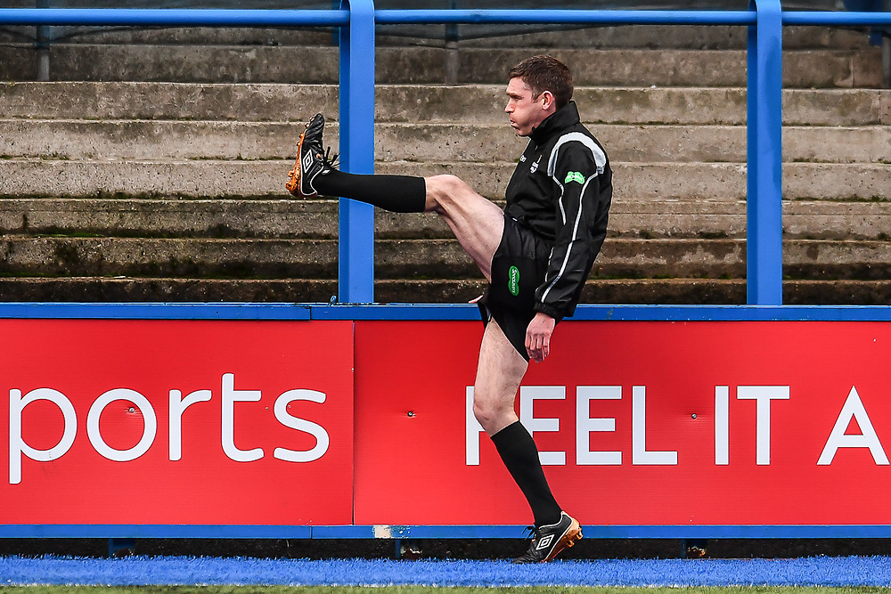 Referee Goerge Clancy stretching during the pre match warm up - Mandatory by-line: Craig Thomas/Replay images - 31/12/2017 - RUGBY - Cardiff Arms Park - Cardiff , Wales - Blues v Scarlets - Guinness Pro 14