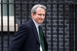 © Licensed to London News Pictures. 12/04/2018. London, UK. Education Secretary Damian Hinds arriving in Downing Street to attend a 'War Cabinet' meeting this afternoon. Discussion is expected on Britain's involvement on military action in Syria, following a suspected chemical attack. Photo credit : Tom Nicholson/LNP